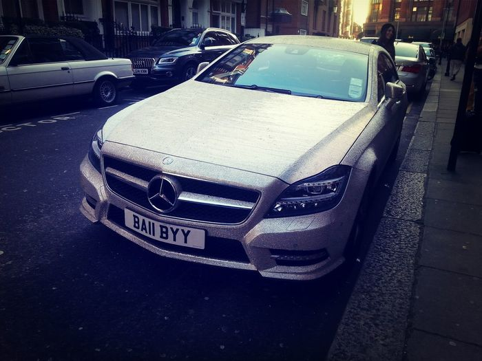 Merc covered in diamonds (like real ones honest!) can't get a space at Harrods shocker! Posh Chav