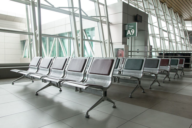 Chairs and tables in airport