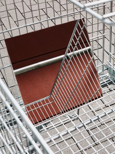 High angle view of mirror in shopping cart