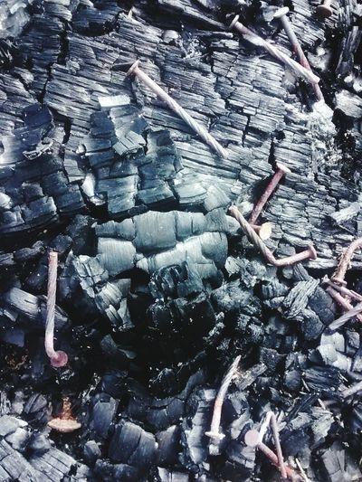 Wood Burned Log Fire Texture Coals Powder Dark Nails