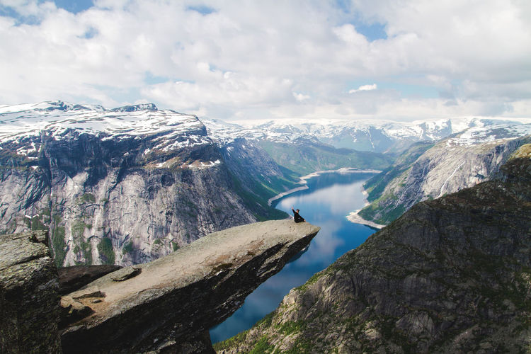 Norway Travel Destinations Hiking Trolltunga Mountain Peak Sky Landscape Day Mountain Range Nature Cloud - Sky Rock Beauty In Nature Mountain First Eyeem Photo EyeEmNewHere