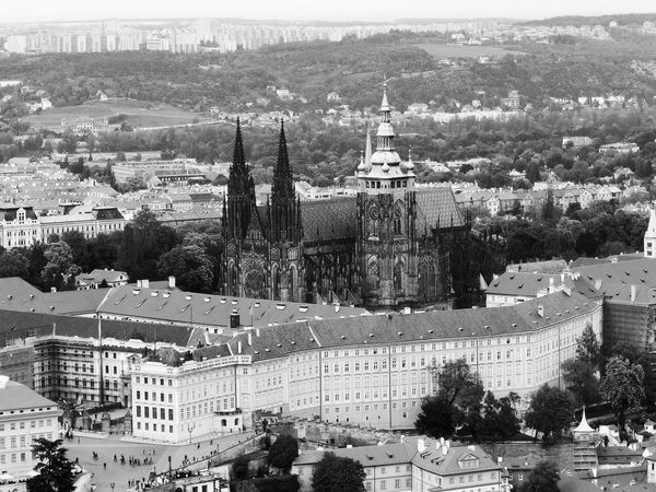 Old Town, View of the town, Prague Architecture Building Exterior Built Structure Capital Cities  City City Life Cityscape Day Elevated View Mountain No People Old Town Outdoors Prague Residential Building Residential District Residential Structure Sky Tourism Town TOWNSCAPE Travel Destinations Tree View Of The Town