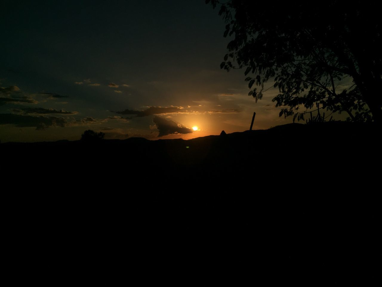 silhouette, sunset, nature, beauty in nature, sun, sky, tranquil scene, scenics, tranquility, no people, tree, outdoors, landscape, day