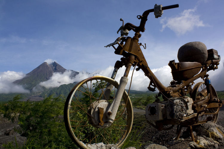 The merapi mountain that was recorded as active, famous for its lava and hot cloud avalanches.