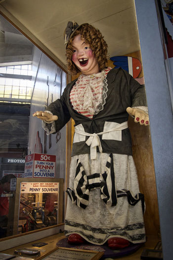 Laughing Sal 18th Century Arcade Arcades Box Coin Operated Collection Curly Hair Fingernails Fisherman's Wharf Frightening Front View Girl Indoors  Laughing Manaquin Old English Scary Dolls Shirley Temple Toothless Unusual Woman Glass Enclosed