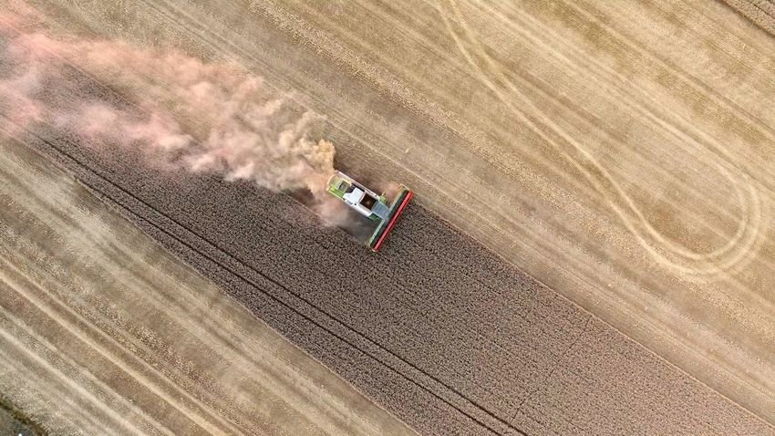 Aerial View Agricultural Machinery Agriculture Cereal Plant Combine Harvester Day Farm Field Growth High Angle View Nature No People Outdoors Rural Scene Sports Track Tire Track Transportation Fresh On Market 2017