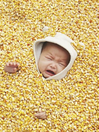 High angle view of crying girl lying in corn