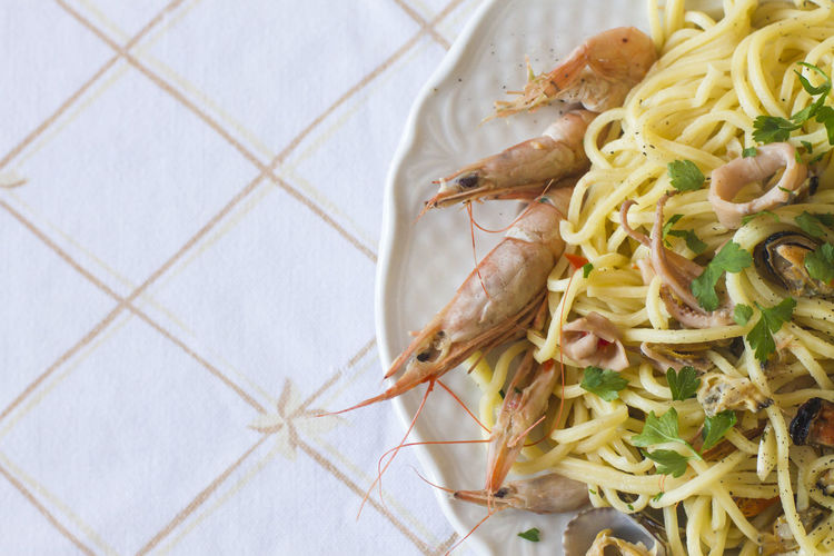 High Angle View Of Shrimp Noodles In Plate
