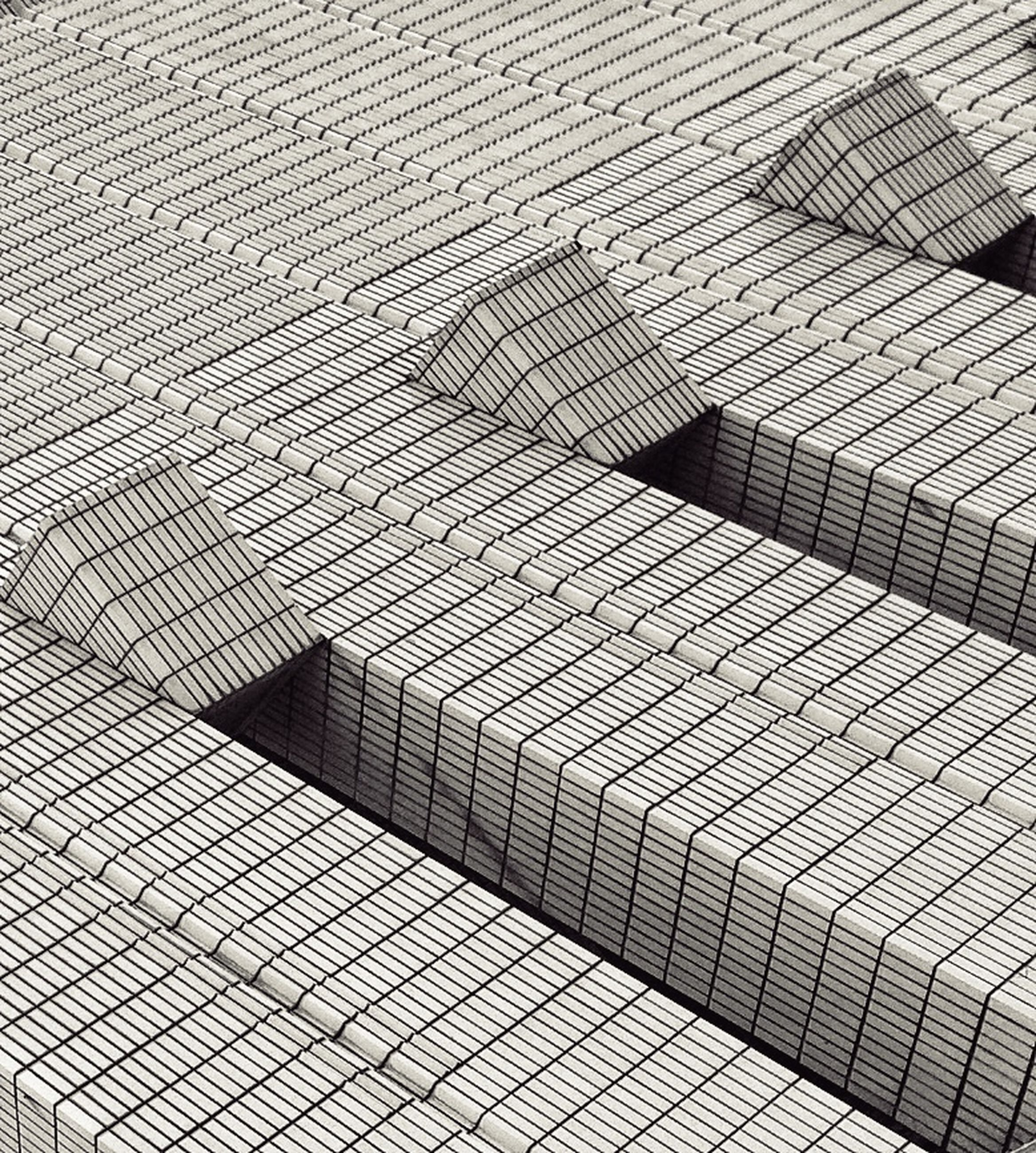 pattern, full frame, high angle view, backgrounds, shadow, sunlight, textured, metal, design, day, fence, outdoors, repetition, protection, cobblestone, no people, safety, paving stone, footpath, geometric shape