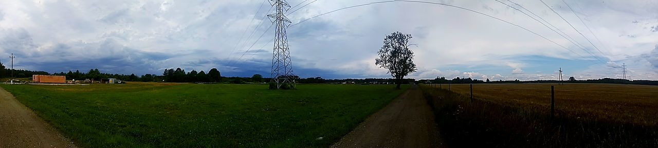 Cloud - Sky Tree Landscape Rural Scene Field Sky Grass No People Social Issues Tranquility Panoramic Beauty In Nature Day Storm Cloud Nature Outdoors Freshness
