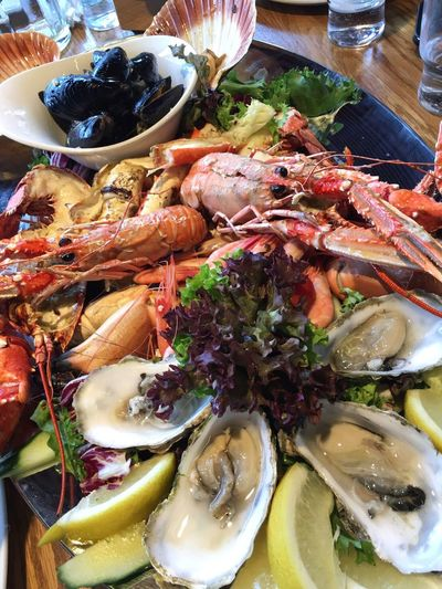 Seafood Food Food And Drink Freshness Plate Prawn Healthy Eating Ready-to-eat Mussel High Angle View No People Serving Size Crustacean Indoors  Close-up Day Bergen Norway
