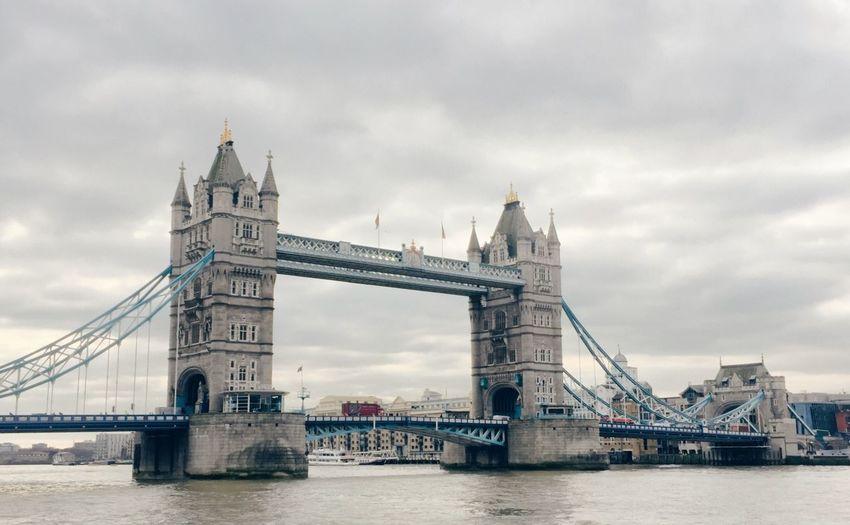 Tower Bridge Tower Bridge  London Uk Outdoors Mobilephotography IPhoneography Wide Angle Travel Bridges Architecture Landmark Cloudy Colour Image Atmospheric Bus Scenics The Architect - 2016 EyeEm Awards