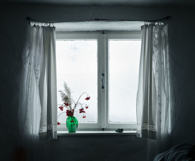 Flower vase at window in bedroom