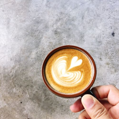 Cappuccino Coffee Drink Coffee - Drink Human Hand Food And Drink Refreshment Coffee Cup Hand Cup Mug Frothy Drink Froth Art Still Life Cappuccino Hot Drink Human Body Part Holding Human Finger Lifestyles High Angle View