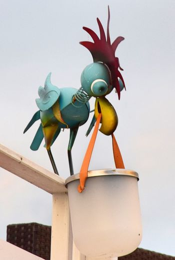 Joke Linumer Hafen Animal Themes Bird Clear Sky Close-up Day Linum Low Angle View Multi Colored Nature No People Outdoors Roof Sculpture Sky Statue