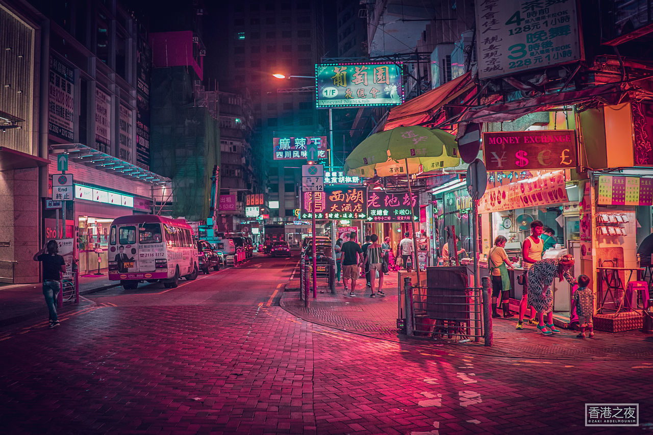 night, illuminated, building exterior, architecture, street, built structure, city, city life, travel destinations, nightlife, outdoors, large group of people, neon, road, real people, people