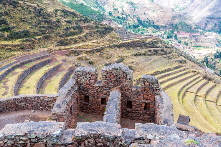 Ancient Incan ruins at Pisac in the Sacred Valley near Cusco, Peru Ancient Andes Cusco Destination Famous Inca Landmark Landscape Lost Mountain Outdoors Peru Pisac Pisac Perú Ruin Ruins Sacred Valley Sacred Valley - Peru Stone Terrace Tourism Trail Travel Urubamba Valley