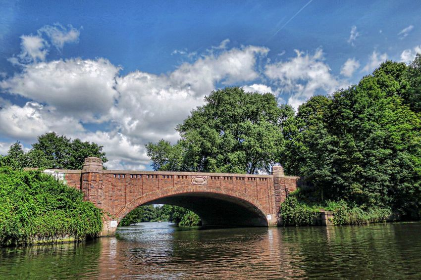 Bridge - Man Made Structure Cloud - Sky Tree Arch Architecture River Sky Built Structure Water Connection Day Outdoors Nature Transportation No People Stadtpark Stadtpark Hamburg