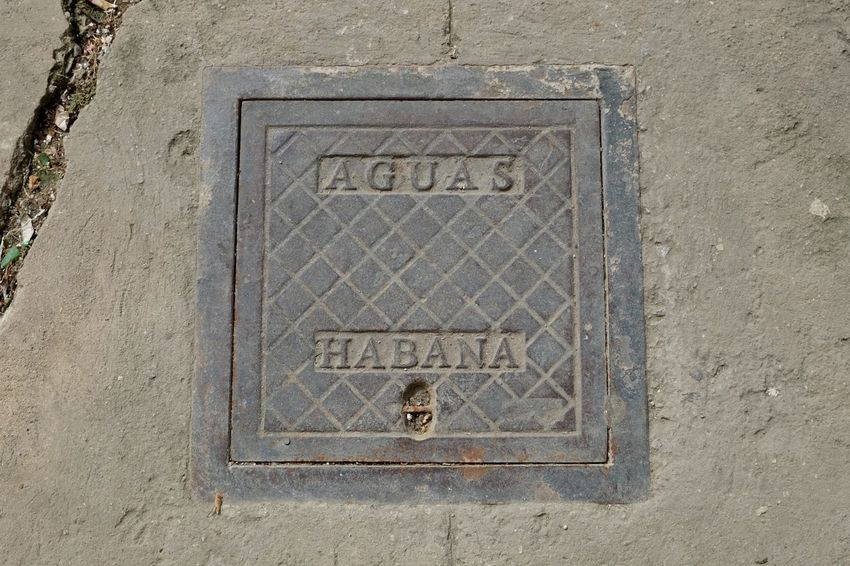 Public utility. Agua Water Street Habana Manhole  Cuba Collection Cuba Havana Text Communication Day No People Outdoors Close-up Ancient Civilization