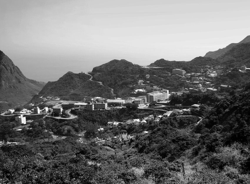 View of Jinguashi from the south. Although only a small town, there is a difference in elevation of about 200 metres from the lowest to the highest elevation buildings. Jinguashi Ruifang District Taiwan Vista Architecture Arid Climate Beauty In Nature Black And White Clear Sky Day Jiufen Landscape Monochrome Mountain Mountain Range Nature No People Outdoors Scenics