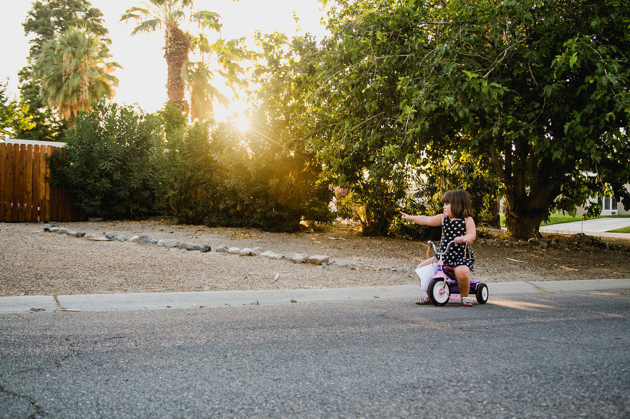 Girl Pointing While Riding Tricycle On Road