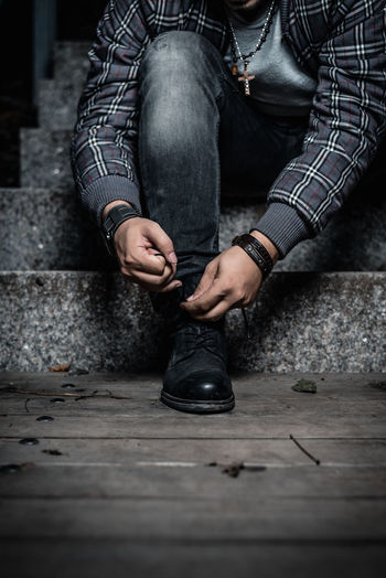 Adult Adults Only Black Color Close-up Day Fashion Human Body Part Human Hand Human Leg Indoors  Low Section Men One Man Only One Person Only Men People Preparation  Real People This Is Masculinity