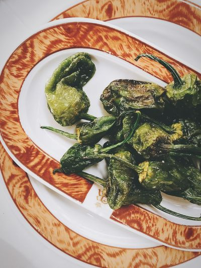 Plate Food And Drink Food Healthy Eating Vegetable Indoors  High Angle View Freshness Ready-to-eat No People Table Serving Size Green Color Close-up Pimientos De Padron Padron Peppers Spanish Food Tapas Appetizer Madrid Shotoniphone7 Close Up