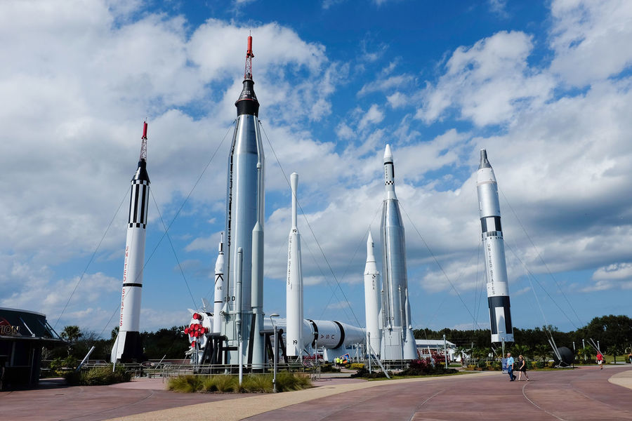 Wide angle view The Rocket Garden at Kennedy Space Centre Kennedy Space Center  Rocket Rockets Saturn Rocket Science Space Travel Tourist Attraction  Cloud - Sky Museum Outdoors Rocket Garden Sky Space Tourism Transportation