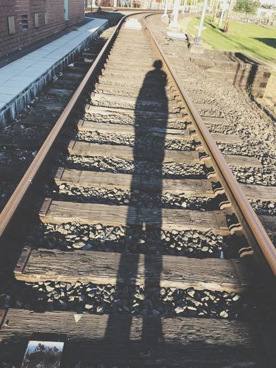 Shadows on the train tracks Evening Light Sunset Max Tracks Interesting Shots Eyem Best Shots Lanscape Gresham Oregon Eyem Best Shots Sunlight Shadow Track Nature Railroad Track High Angle View Day Rail Transportation Transportation Outdoors Diminishing Perspective Direction Metal Real People vanishing point Architecture Gravel Lifestyles The Way Forward Long The Street Photographer - 2018 EyeEm Awards The Photojournalist - 2018 EyeEm Awards