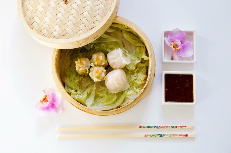 High angle view of chinese dumpling