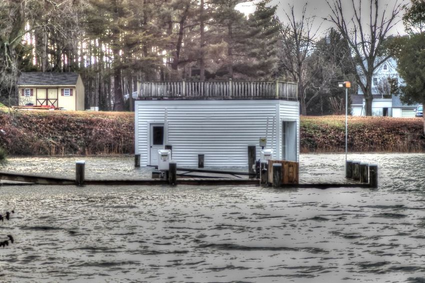 Boad Shed Boat Boat House Built Structure Dock High Water Level Nature Pier River Shore Waterfront