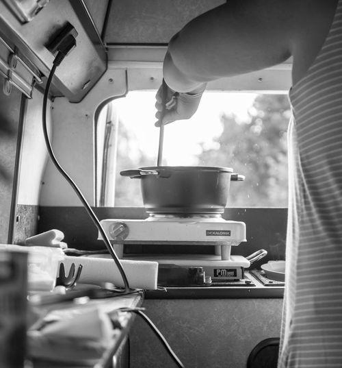 Camperlife/Kochen😊Klein aber fein. Minikitchen im Bus. Essen im Womo und kochen anstatt ins Restaurant gehen. Lecker😊 Camperlife Camping Working Chef Commercial Kitchen Food And Drink Establishment Occupation Human Hand Men Preparation  Kitchen Restaurant Cooking Utensil Kitchen Utensil The Traveler - 2018 EyeEm Awards