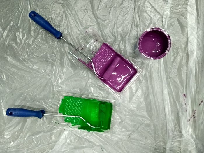 Work Workplace Green Purple Multi Colored Close-up Paint Roller Brush Paintbrush Paint Can Drawing Palette Paint