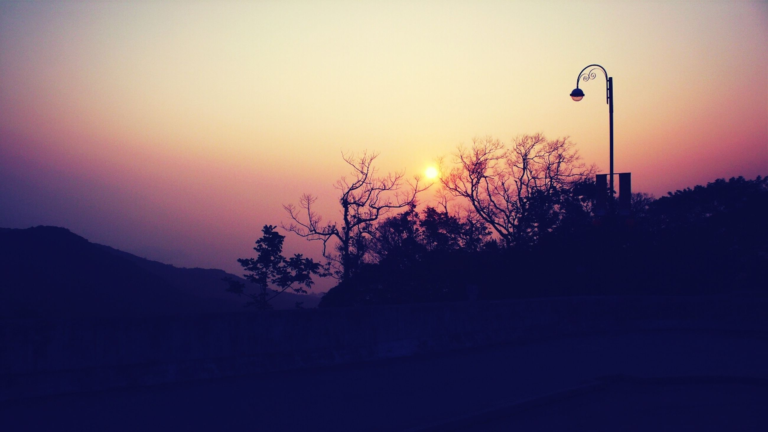 sunset, silhouette, orange color, sun, tree, tranquility, scenics, tranquil scene, clear sky, beauty in nature, sky, nature, copy space, idyllic, landscape, dusk, outdoors, no people, outline, street light