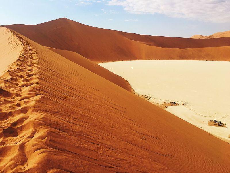 Sossusvlei & Dead Vlei Hiking Explore Travel Discover Africa Namibia Africa Sossusvlei Deadvlei Sand Sand Dune Desert Arid Climate Landscape Nature Tranquil Scene Extreme Terrain Beauty In Nature Travel Destinations