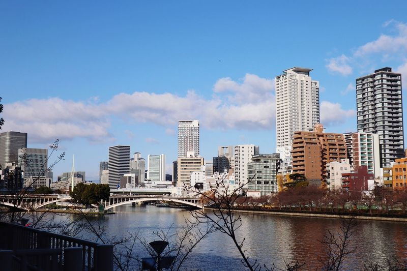 City view Japan OSAKA Building Exterior Architecture Built Structure Building Sky City Water Cloud - Sky Skyscraper Modern Cityscape No People Outdoors Waterfront City Life My Best Photo