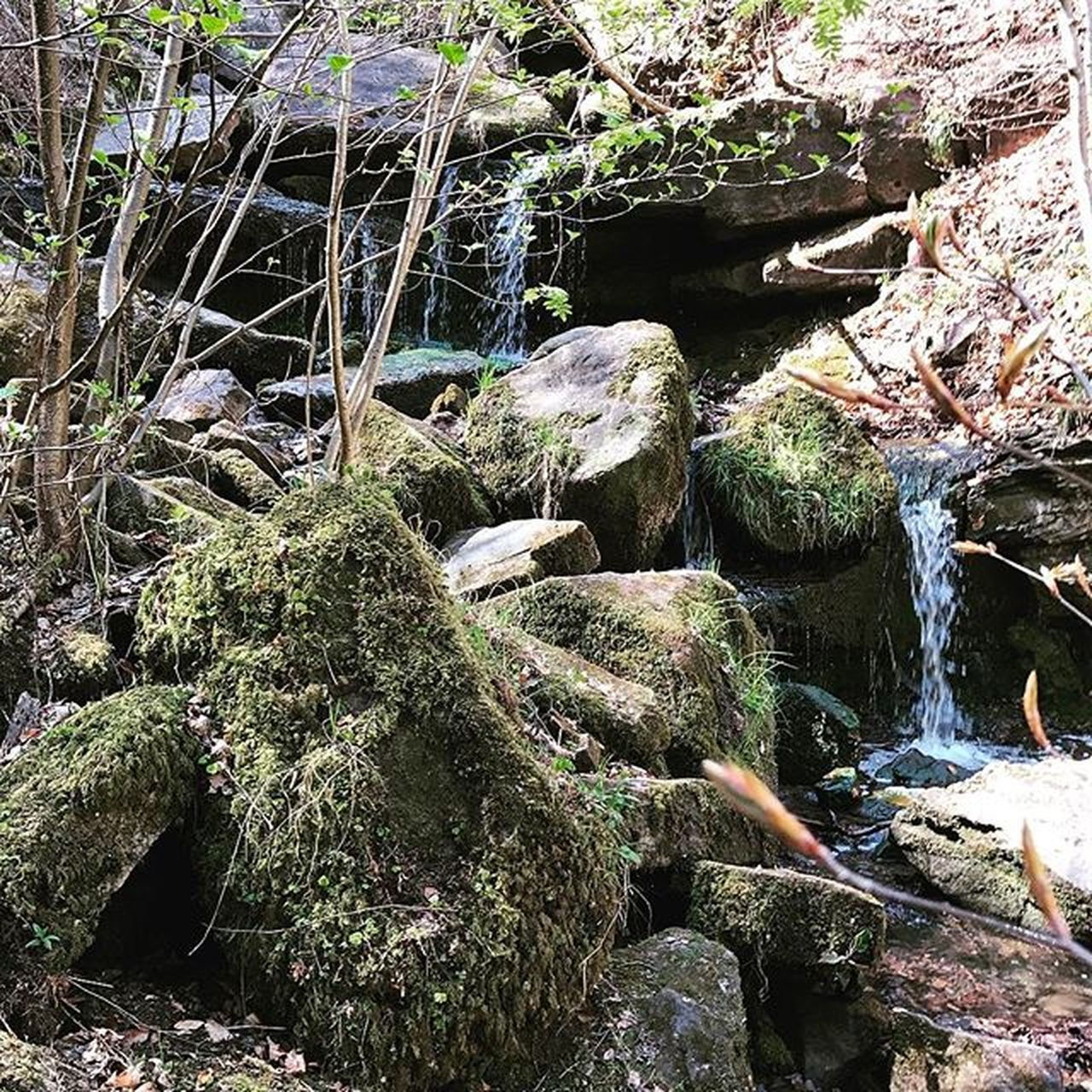rock - object, nature, no people, outdoors, beauty in nature, waterfall, water, day, moss