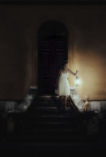 Girl Holding Old-Fashioned Lantern By Sphynx Hairless Cat On Steps At Night