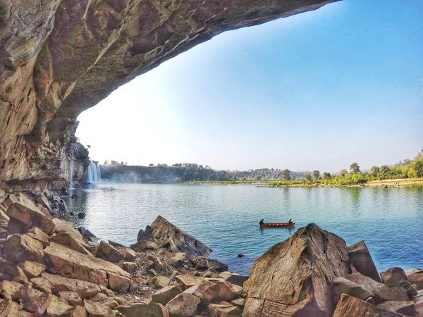 Fall of a waterfall Chattisgarh India Waterfall Day Water Beach Outdoors No People Nature Clear Sky Sky Beauty In Nature Tree