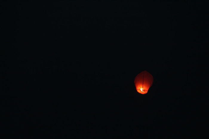Burning Light Nightphotography Black Background Clear Sky Copy Space Illuminated Nature Night No People Outdoors Sky Sky Lantern Space