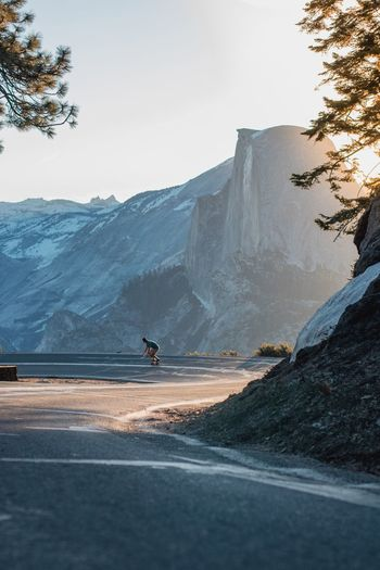 EyeEmNewHere Nature Adventure Mountain Day Outdoors Road One Person Landscape Beauty In Nature Tree Sky One Man Only People Yosemite