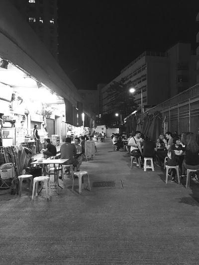 StreetFoodMarket Night Blackandwhite Large Group Of People