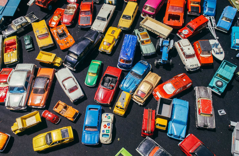 High angle view of toy cars at market stall