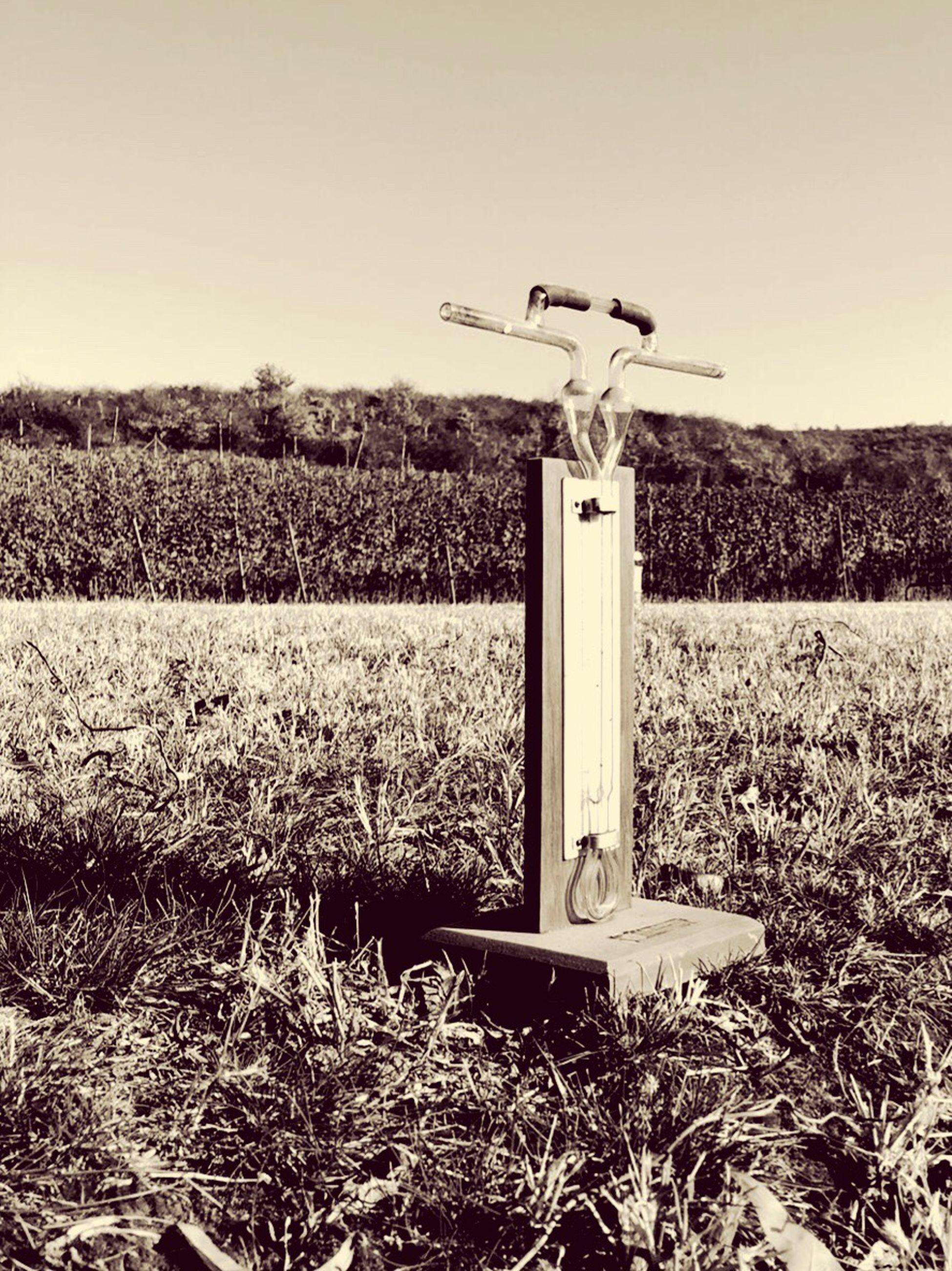 field, grass, no people, scarecrow, outdoors, day, cross, rural scene, nature, sky