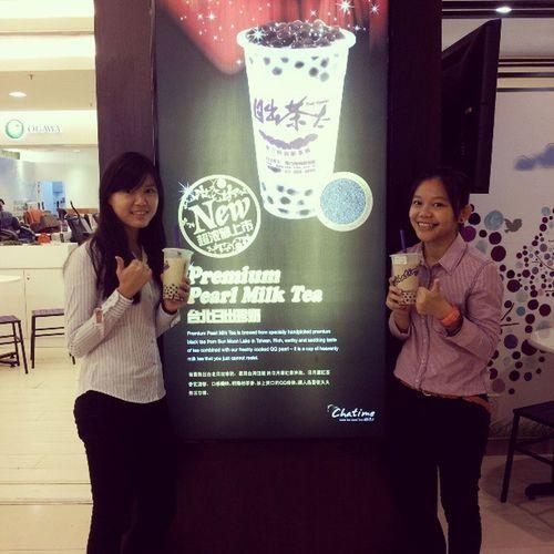 Ply hard study hard ChaTime Drinks Red bean milk tea 日出茶太