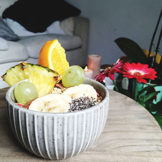Healthy fruity smoothie bowl Brunch Bowl Food And Drink Table Freshness Food Indoors  Food Stories Sweet Food Fruit Healthy Eating Ready-to-eat Flower