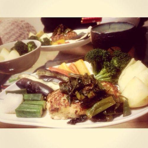 蒸し焼き野菜と鶏むねハンバーグ^_^
