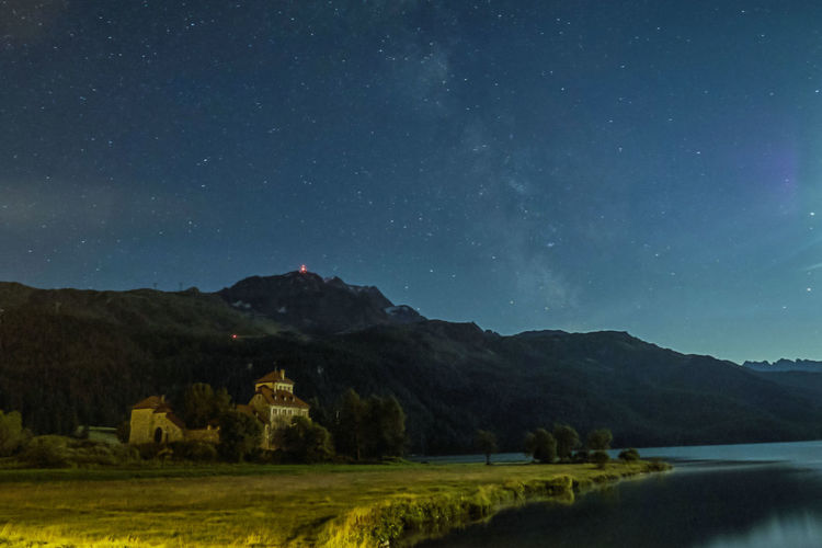 Milkyway over Lake Silvaplana Astronomy Blue Castle Corvatsch Crap Da Sass Engadin Graubünden Lakeview Landscape Longexposure Milkyway Moonlight Mountain Mountain Range Night Nightphotography Silvaplana Surlej Switzerland Tranquil Scene Travel Destinations