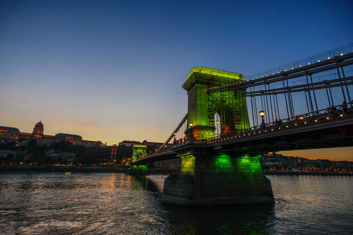 Chain Bridge with green light, Budapest Architecture Bridge Bridge - Man Made Structure Budapest Building Exterior Built Structure Chain Bridge City Clear Sky Connection Copy Space Dusk Engineering Green Light Illuminated Outdoors Reflection River Sky Suspension Bridge Transportation Water Waterfront