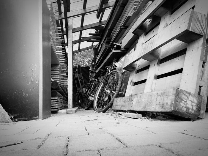 Bike stop bw EyeEm Nature Lover EyeEm Best Shots - Black + White EyeEmNewHere Blackandwhite Architecture Built Structure Building Day Building Exterior No People Outdoors Abandoned Architectural Column Nature Sunlight The Way Forward Old Wall - Building Feature Obsolete Damaged House Direction Arcade Ceiling
